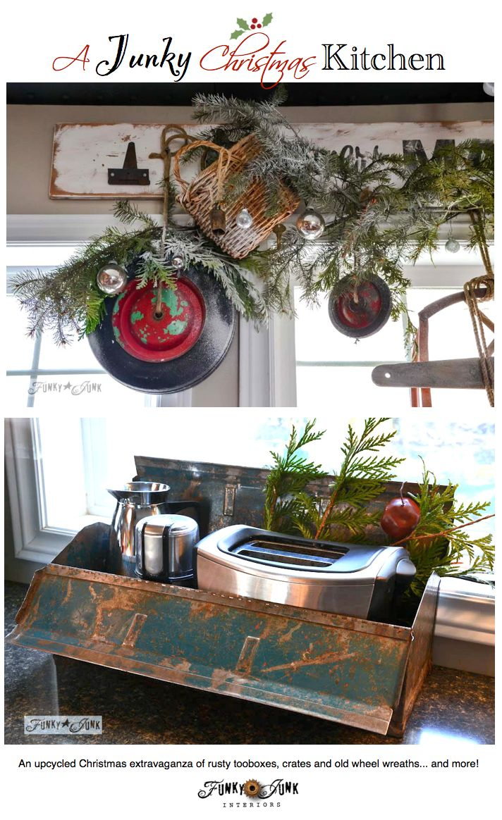 A well lit junky christmas kitchen toolbox and toasters for Well decorated kitchen