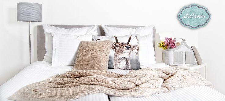 www.lillasky.com. Animal decorative element in your bedroom, natural high quality sateen cotton linen and original wool plaid. Perfect place for eco-friendly person.
