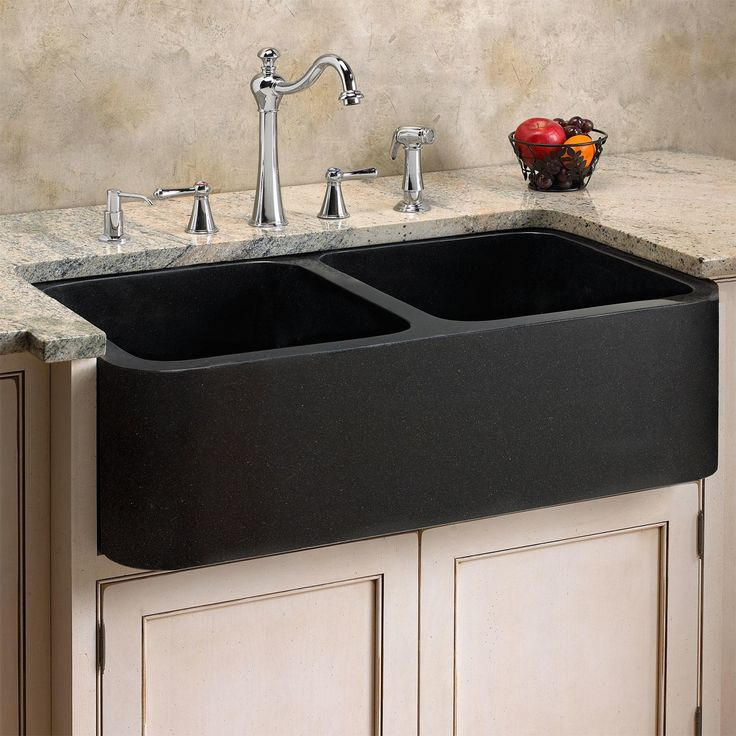 """Garden Kitchen With Stone Top And Sink: 33"""" Polished Granite Double-Bowl Farmhouse Sink"""