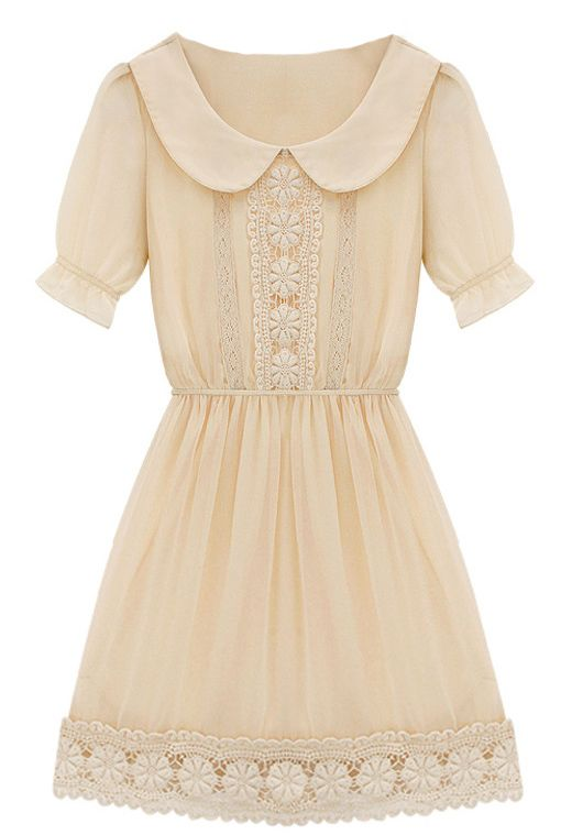 Apricot Short Sleeve Peter Pan Collar Crochet Lace Chiffon Dress - Sheinside.com