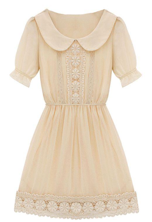 Apricot Short Sleeve Peter Pan Collar Crochet Lace Chiffon Dress - Sheinside.com