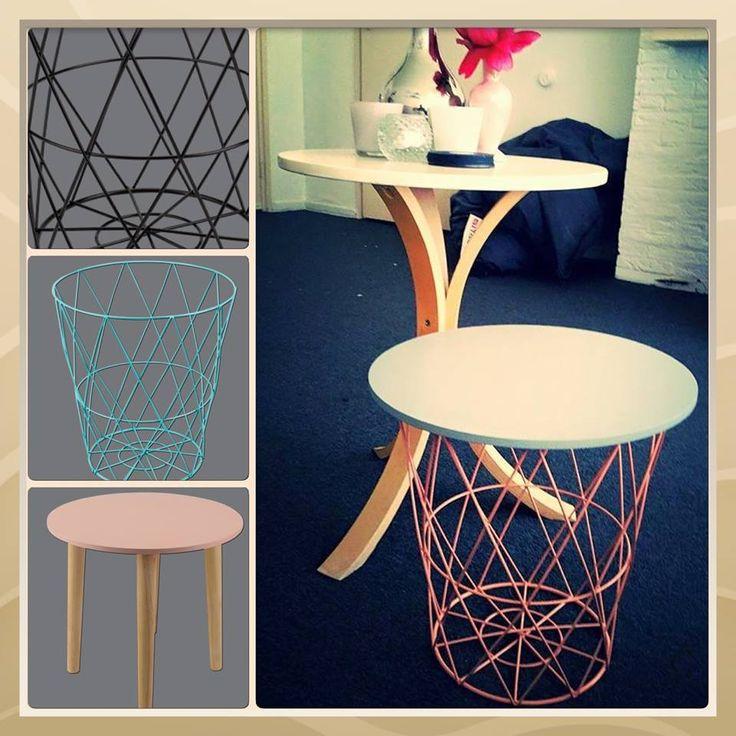 Op fb van Action: Sanne Tempert heeft deze foto geplaatst op de fb fanpagina met deze woorden: Ik heb het blad van het nieuwe houten tafeltje (€6.95) boven op de draadmand (€3.79) gelegd (paste gewoon precies!!) waardoor het een salontafeltje is geworden.| Action | DIY - BespaarMama