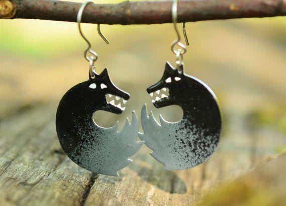 Wolf Earrings Art Jewelry Enameled Metal Stainless by CinkyLinky