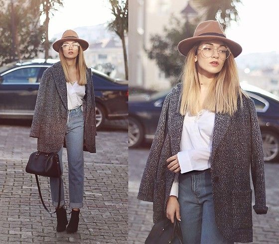 Get this look: http://lb.nu/look/8543647  More looks by Melike Gül: http://lb.nu/melikegul  Items in this look:  Sheinside Shirt, Sheinside Tweed Jacket, Romwe Mom Jeans, Wearme Pro Glasses, Pull & Bear Bag, Romwe Boots