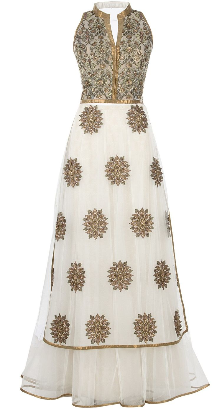 J J VALAYA Ivory embroidered long kurta with skirt