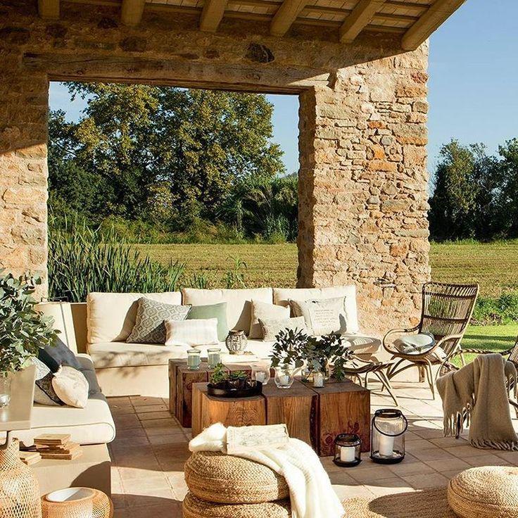 """#sunny #stone #terrace #rustic #outdoors #living #garden #acasa via El Mueble"""