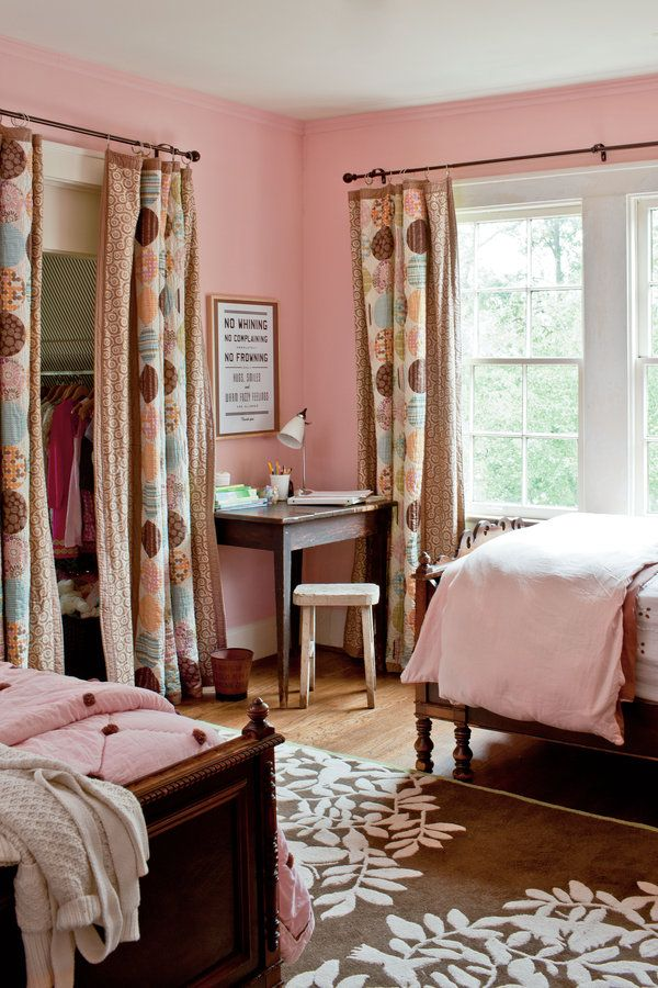 Pair your pink wall paint with hints of pink in the fabric to create cohesiveness throughout the room.    Paint: Heather Pink (2091-60) by Benjamin Moore