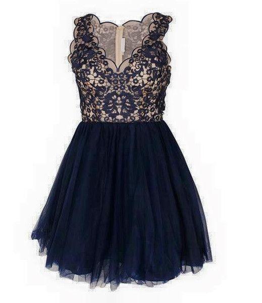 Sukienka++tiulowa++z++koronką++granat+w+Dorota+Szczęsna+Fashion+&+Moda+na+DaWanda.com