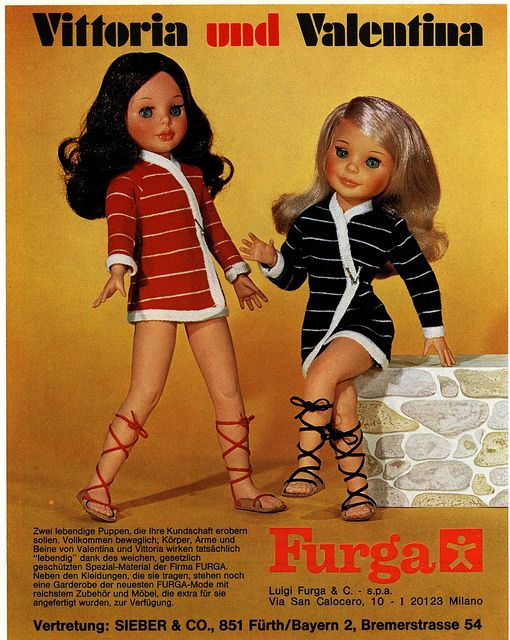 German-language trade advertisement for fashion dolls Vittoria and Valentina, featuring stuffed vinyl bodies and wire armature for posing, from the toy industry trade magazine Das Spielzeug, 1969, dolls by Furga of Italy.