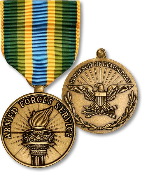 "The Armed Forces Service Medal (AFSM) is a military award of the United States military which was created on January 11, 1996 by President Bill Clinton under Executive Order 12985. The medal is a theater service award which is presented to those service members who engage in ""significant activity"" for which no other campaign or service medal is authorized."