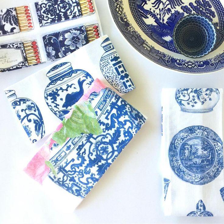 Designer tea towels. Chinoiserie tea towels, blue and white tea towels, ginger jar tea towels, ming jar tea towels