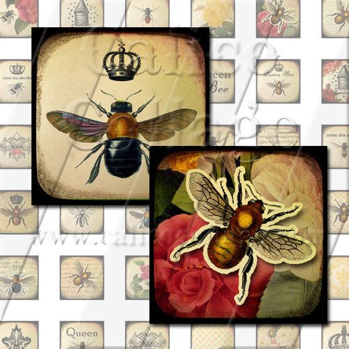 Queen Bee  Instant Download Digital Collage Sheet by calicocollage, $4.15