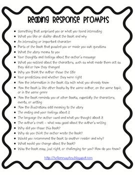 This is a list of prompts for your students to use when responding to text.