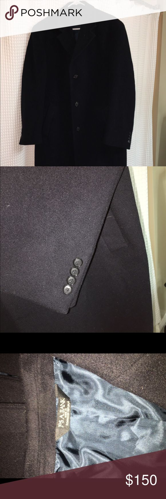 Beautiful navy blue men's wool overcoat Never worn beautiful men's wool overcoat in navy blue! Amazing coat but have never lived in a location cold enough for the coat. Someone will get a great deal on this one!!!! Joseph A Bank Jackets & Coats