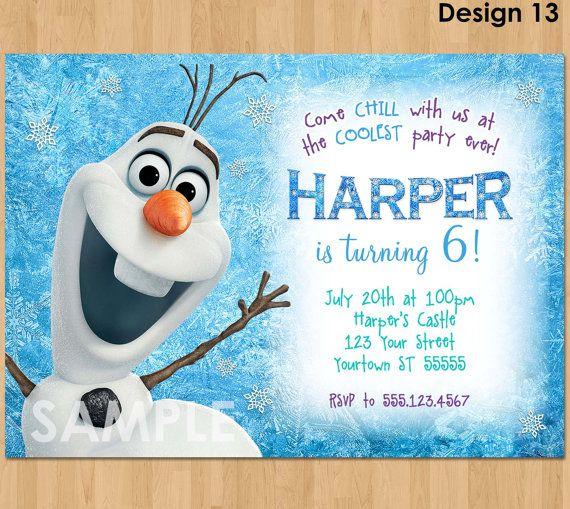 Olaf Invitation Frozen Olaf Birthday by KidsPartyPrintables