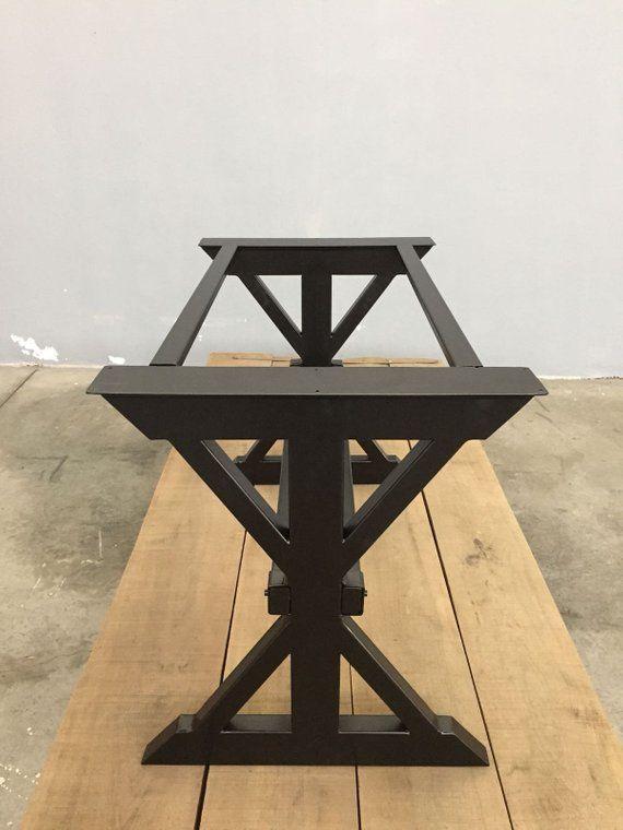 Metal Trestle Farmhouse Dining Table Legs 28h X Etsy Steel