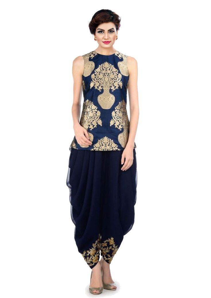 Blue Silk Dhoti Patiala Suit Dress Material, #blue #designersalwarsuit #desinger #dhotipatiala #partywear