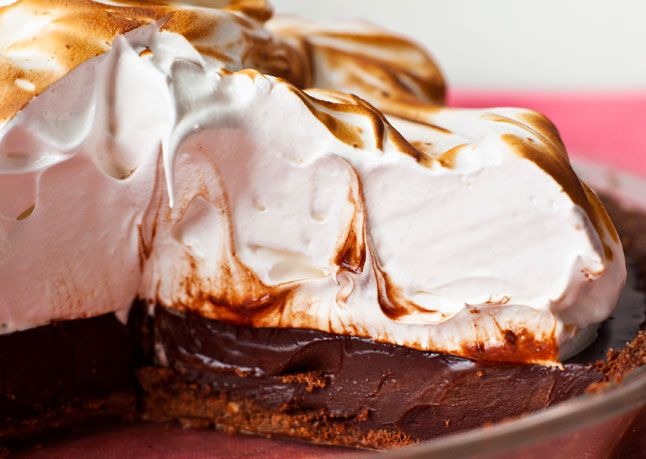 """Coffee """"S'mores"""" Pie Recipe ~ This sophisticated mashup of the campfire classic uses Nutella to bind the graham cracker crust and coffee to deepen the chocolate flavor in the rich ganache filling"""