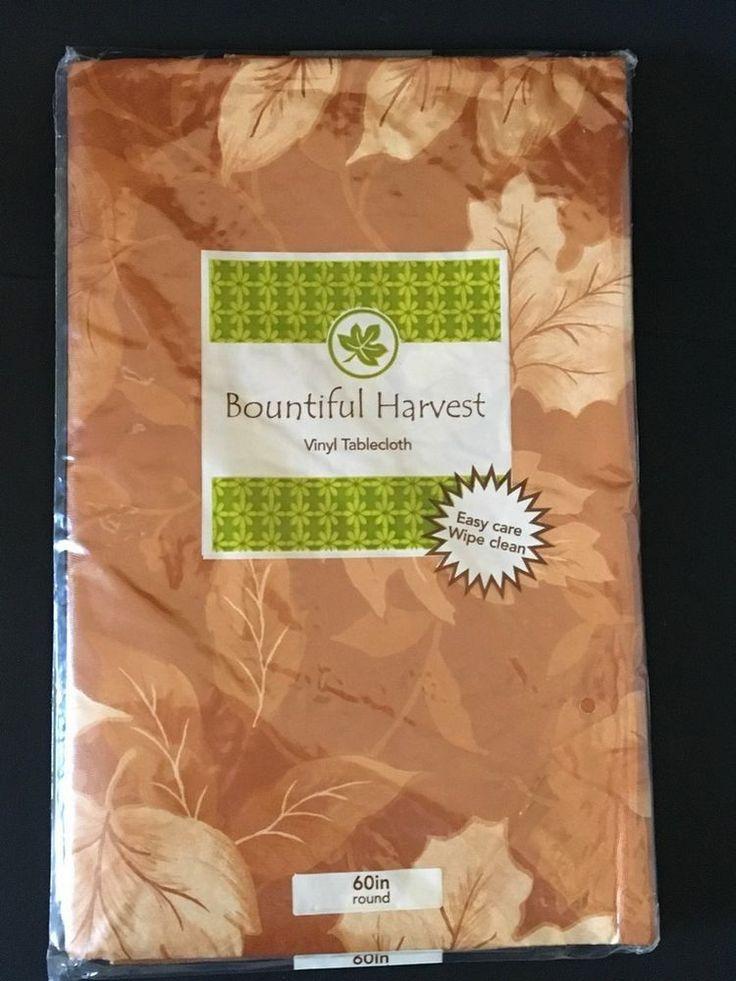 "BOUNTIFUL HARVEST VINYL TABLECLOTH LEAVES Cinnamon 60"" ROUND NEW #BountifulHarvest"