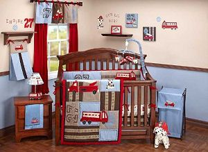 Vintage red baby fire truck nursery crib bedding set with dalmation puppy