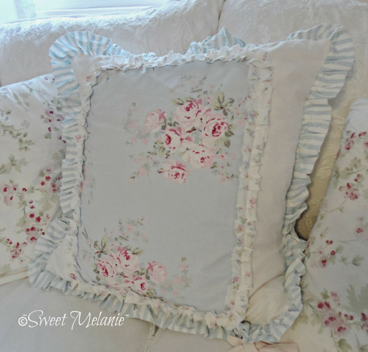 Shabby Chic Blue Pillows : ~Sweet Melanie~: More Sewing shabby chic pillows Pinterest