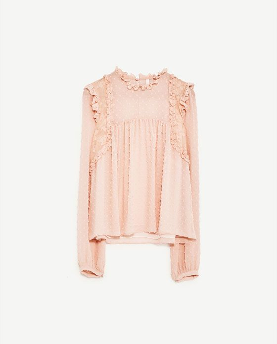 ZARA - Top en plumetis assorti - rose poudré - 19,95€