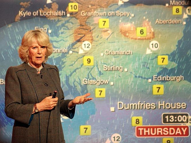 Camilla Parker Bowles weather report in Glasgow, Scotland