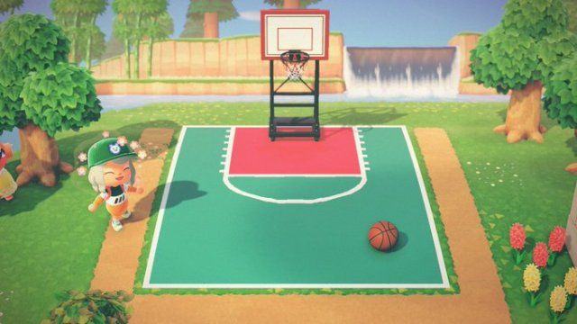 Basketball Court Designed By Lin Of Faerghus Acnh Custom Designs In 2020 Animal Crossing 3ds Animal Crossing Game New Animal Crossing