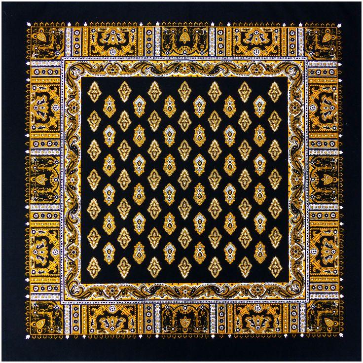 Foulard Provençal Calissons noir or