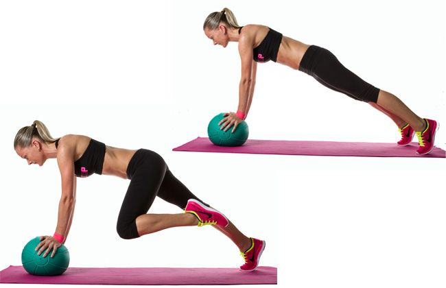 Medicine Ball Mountain Climbers. Target your core, quads, glutes and deltoids!