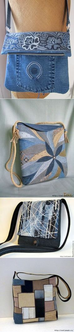 Faire des sacs avec des vieux jeans...Plein d'idées pour s'inspirer!!!