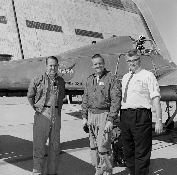 Neil Armstrong at Ames next to the X-14