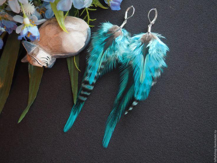 Лазурные волны - бирюзовые серьги с перьями в стиле бохо - серьги с перьями