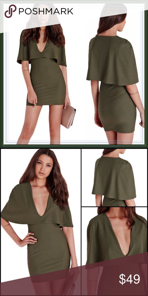 Missguided Cape Bodycon Dress ➖NWOT ➖BRAND: Missguided ➖SIZE: 4 ➖COLOR: Olive green (color no longer available in retail stores) ❌NO TRADE Missguided Dresses