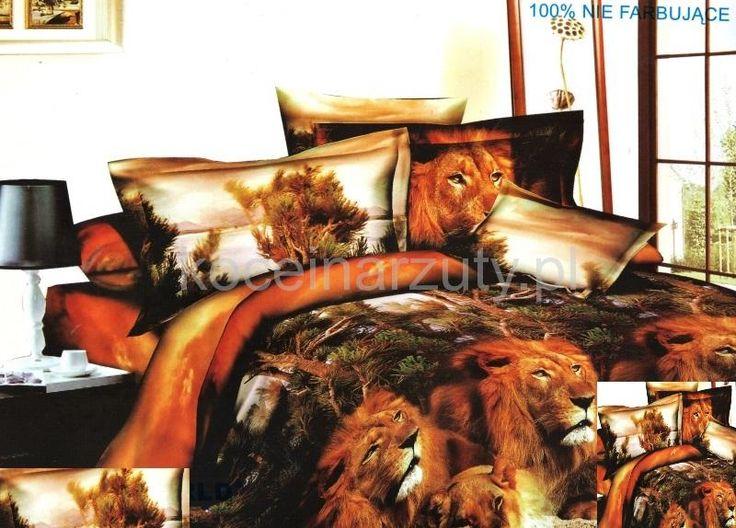 Realistyczna brązowa pościel z lwem