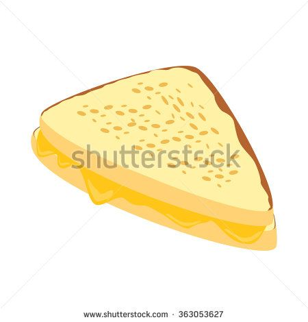 Homemade grilled cheese sandwich for breakfast.Vector Illustration - stock vector