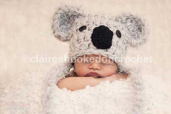 Bonnet Koala. taille nouveau-né, faite à l'ordre, prop photographie ou grand cadeau.