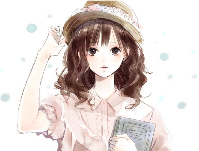 Brown haired anime girl with book | Anime/Manga ...