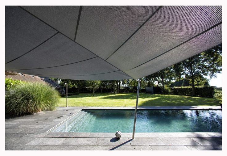 Moderne overkapping tuin met rechthoekig zwembad