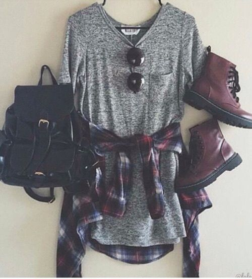 Gray Dress and Tie-Around Flannel with Burgundy Combat Boots