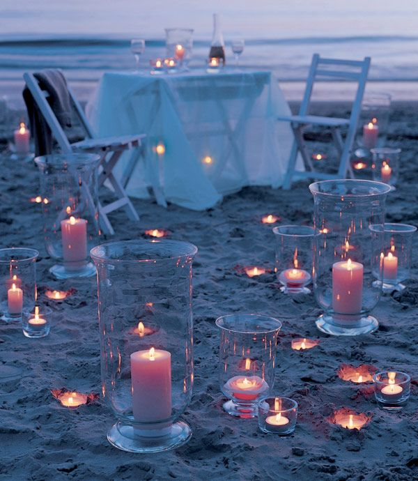 Velas para una cena romántica en la playa | Balart Núvies Wedding Center