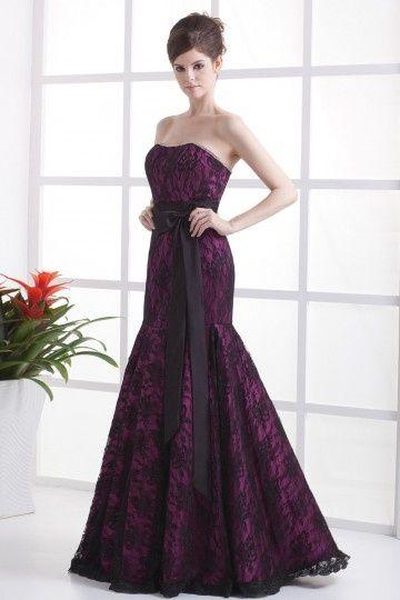 robe bustier pourpre de msriée sirène avec neoud papillon