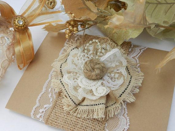 Lace Vintage Rustic Wedding Invitations - Sample Set on Etsy, $9.00