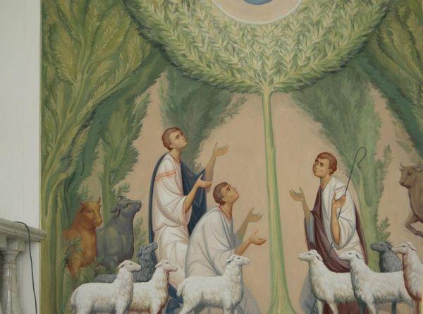 Пастушки ( фрагмент росписи) Zhirovitskaia icon - fresco by Anton Daineko in Minsk. Belarus. to see more check please ikona-skiniya.com...