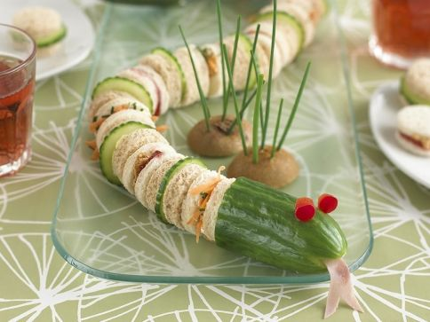 Great party-snack for children: snake sandwich