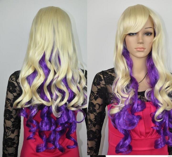 Mac макияж косплей парик ll! новый светлый блондин и фиолетовый микс длинные вьющиеся Парик