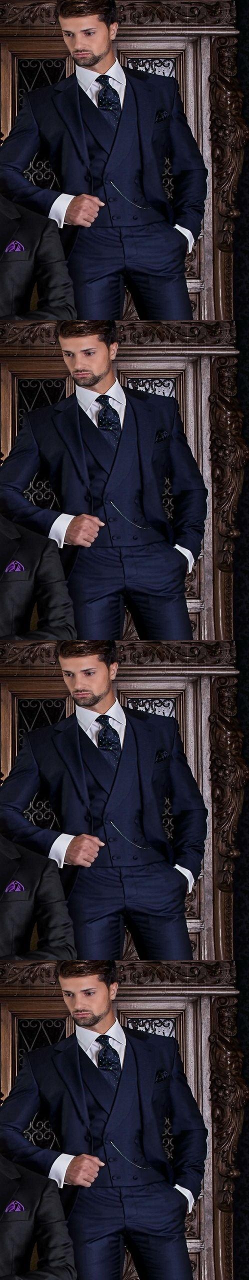 2017 Elegant One Button Navy Blue Groom Tuxedos Groomsmen Men's Wedding Prom Suits Bridegroom Wear Suits (Jacket+Pants+Vest+Tie)