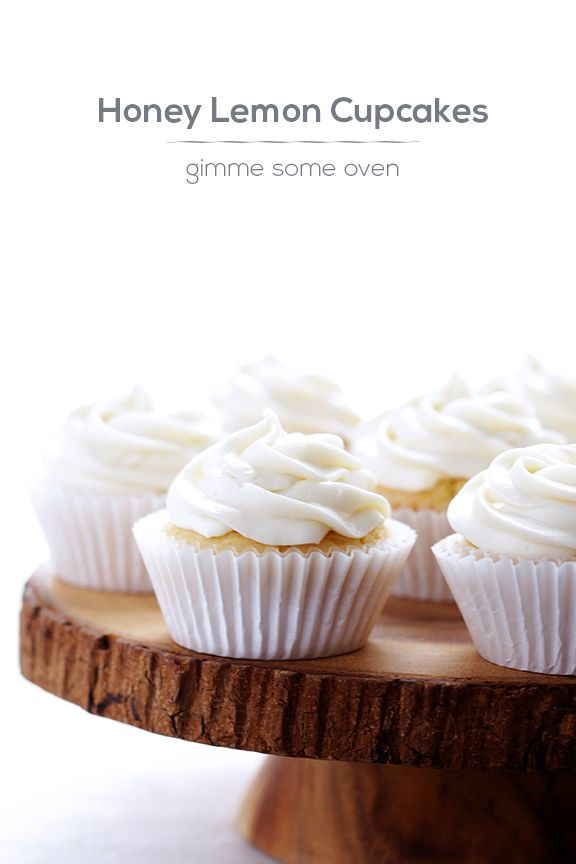 Honey Lemon Cupcakes w/ Honey Cream Cheese Frosting   Gimme Some Oven