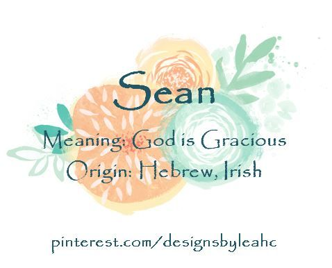 Baby Boy Name: Sean. Meaning: God is Gracious. Origin: Hebrew, Irish.