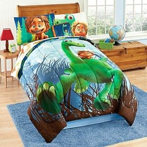This is The Good Dinosaur 6 piece bedding set. It comes with the blanket, fitted and flat sheet, pillow cases and a sham.